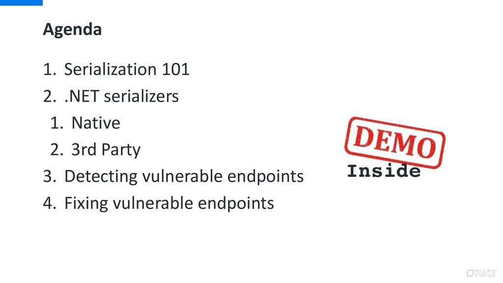 Agenda 1. Serialization 101 2. .NET serializers...