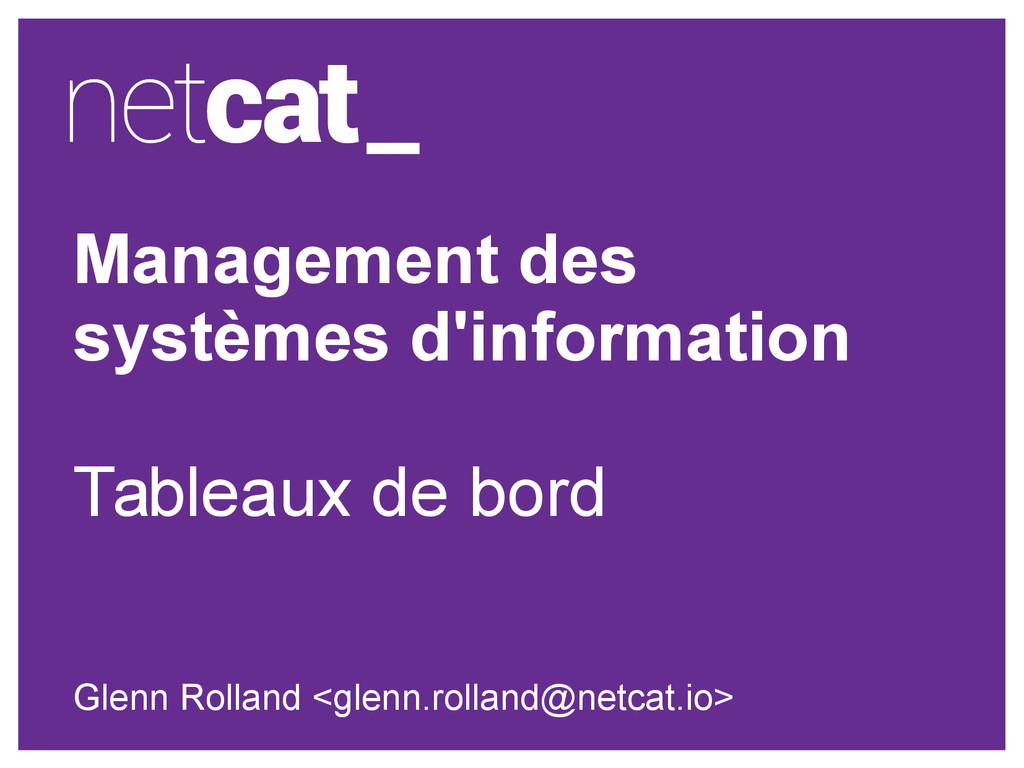 Management des systèmes d'information Tableaux ...