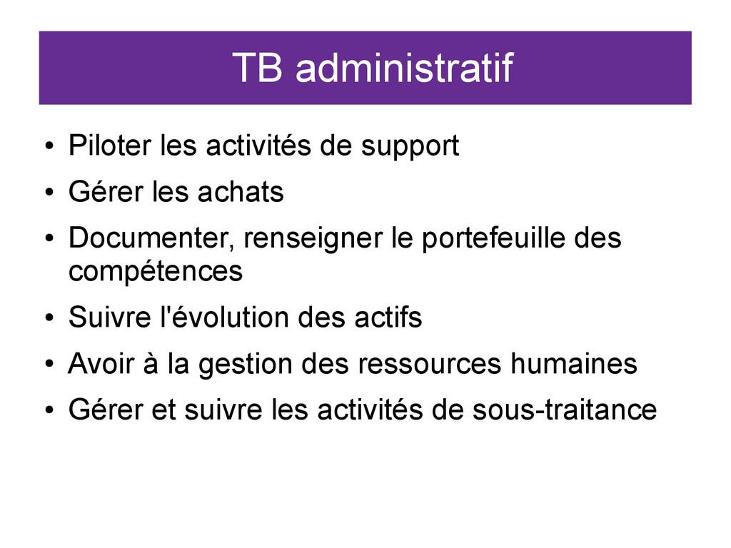 TB administratif ● Piloter les activités de sup...