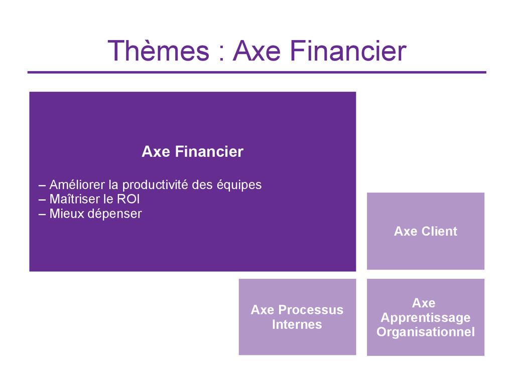 Thèmes : Axe Financier Axe Client Axe Financier...