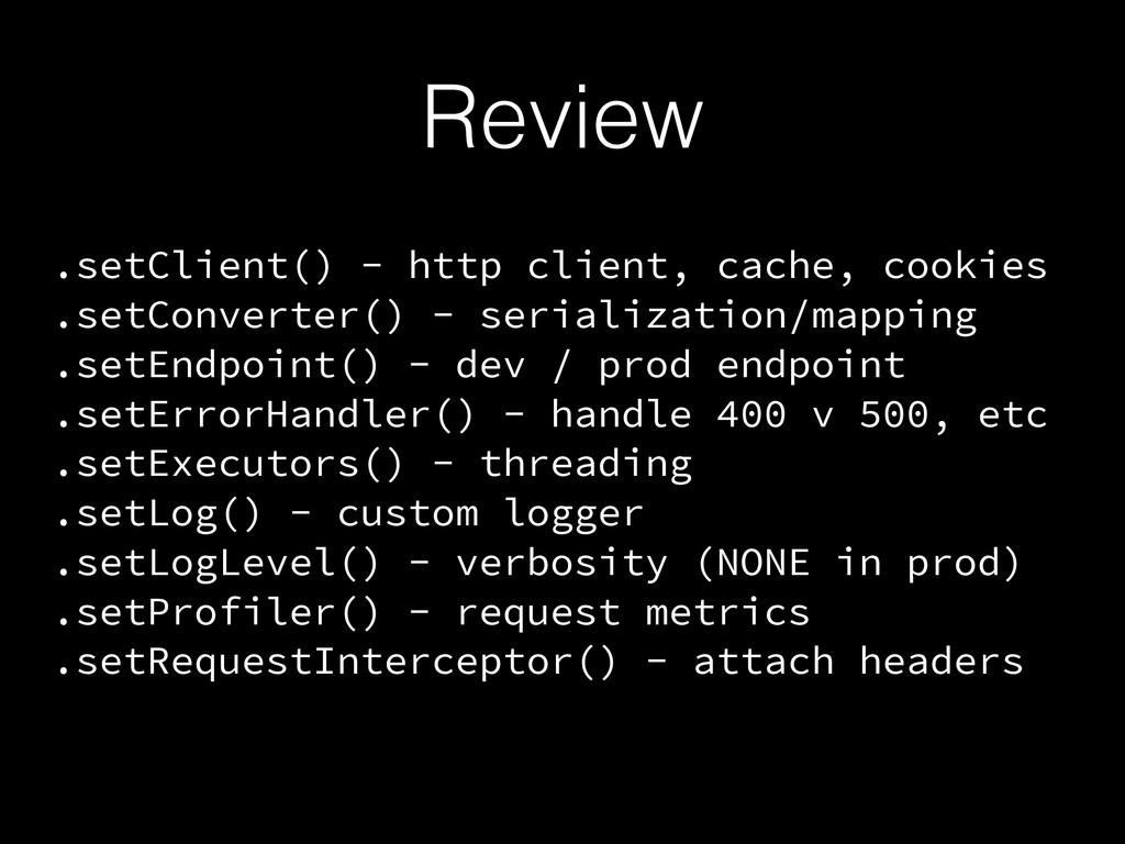 Review .setClient() - http client, cache, cooki...