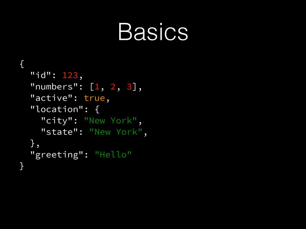 """Basics { """"id"""": 123, """"numbers"""": [1, 2, 3], """"acti..."""