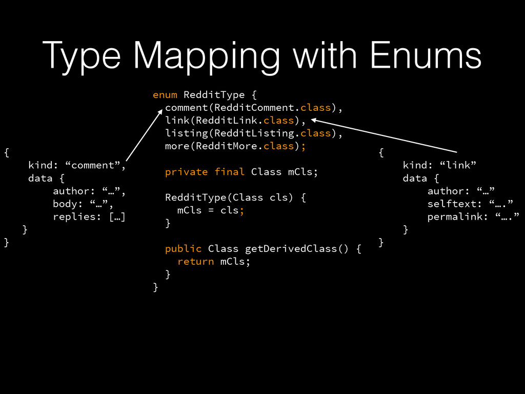 Type Mapping with Enums enum RedditType { comme...