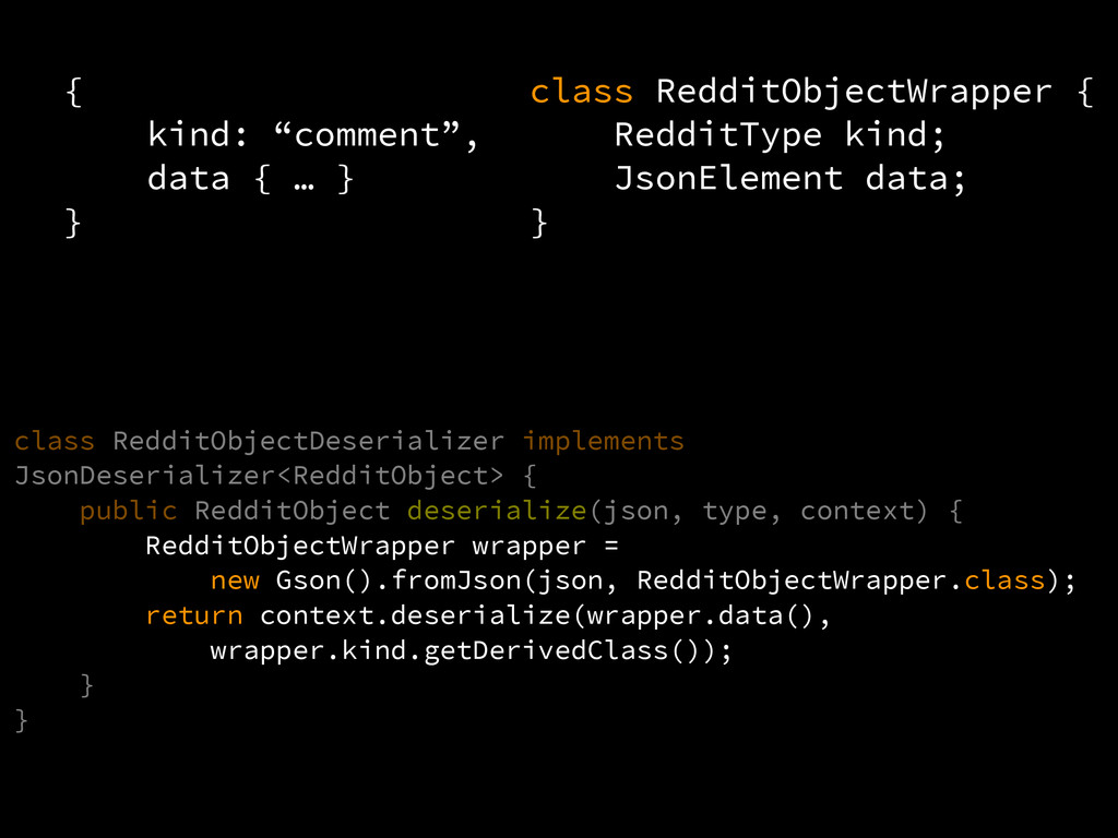 "{ kind: ""comment"", data { … } } class Reddit..."