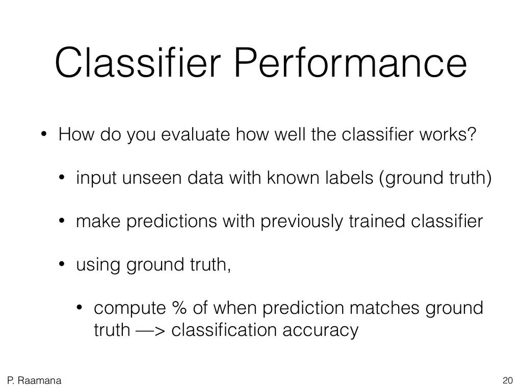 P. Raamana Classifier Performance • How do you e...