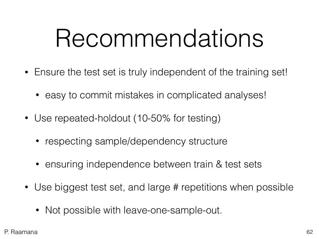 P. Raamana Recommendations • Ensure the test se...
