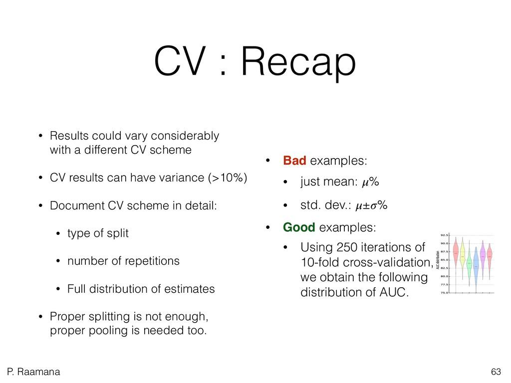 P. Raamana CV : Recap • Results could vary cons...