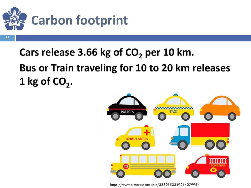 25 Cars release 3.66 kg of CO2 per 10 km. Bus o...
