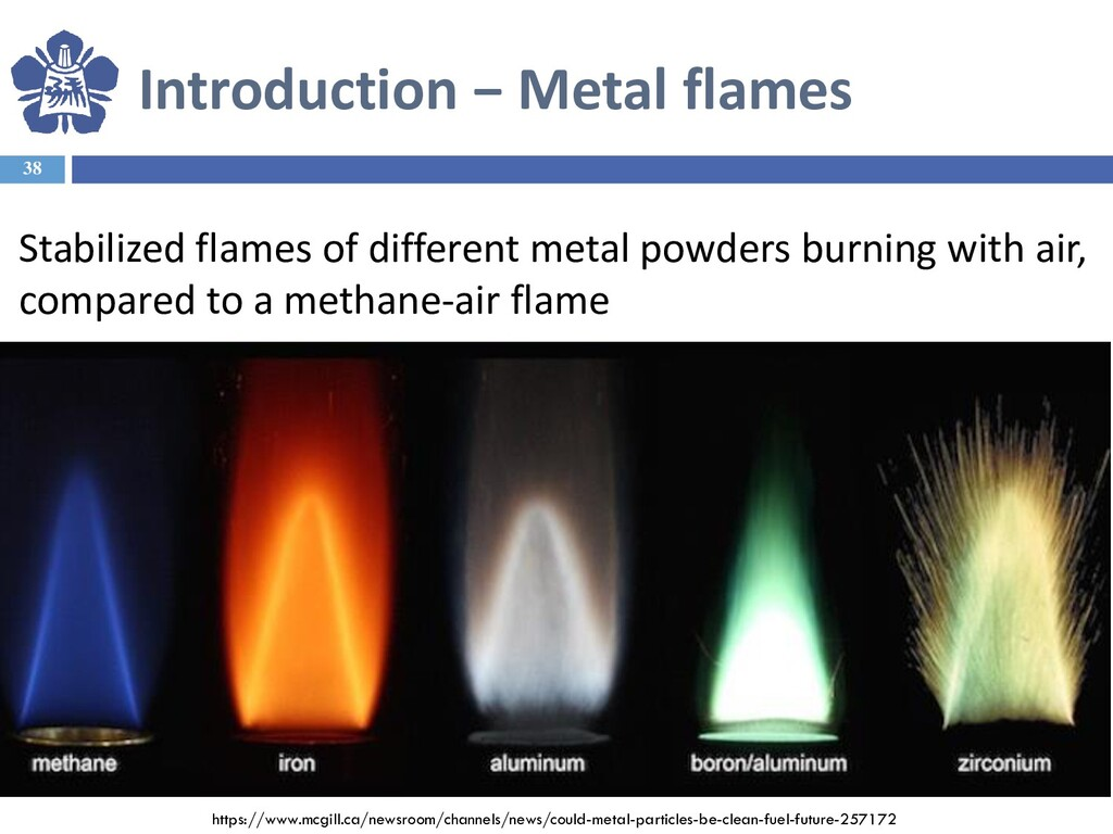 Introduction − Metal flames 38 Stabilized flame...