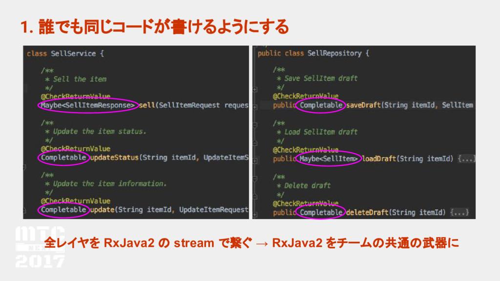 1. 誰でも同じコードが書けるようにする 全レイヤを RxJava2 の stream で繋ぐ...