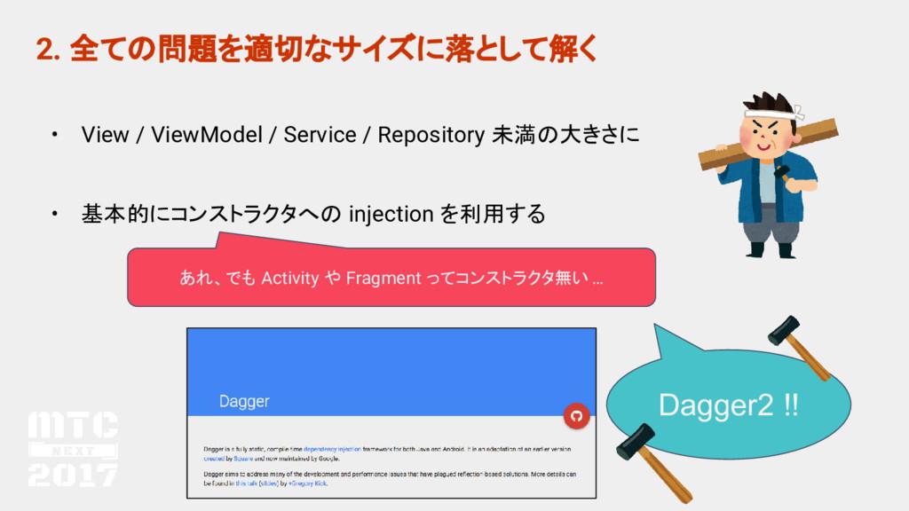 2. 全ての問題を適切なサイズに落として解く • View / ViewModel / Ser...