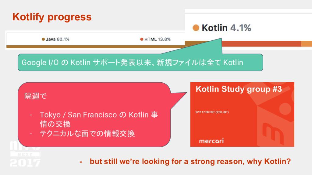 Kotlify progress 隔週で - Tokyo / San Francisco の ...