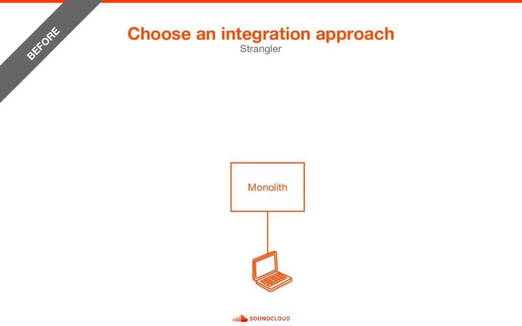 Choose an integration approach Strangler Monoli...