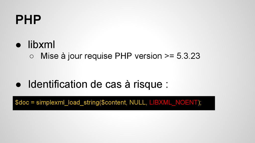 PHP ● libxml ○ Mise à jour requise PHP version ...