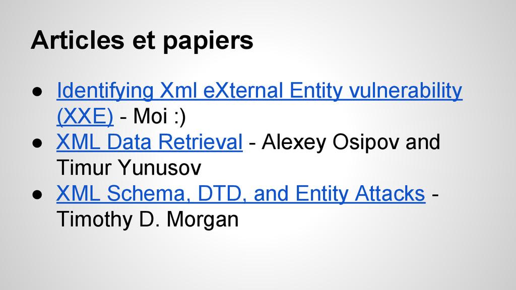 Articles et papiers ● Identifying Xml eXternal ...