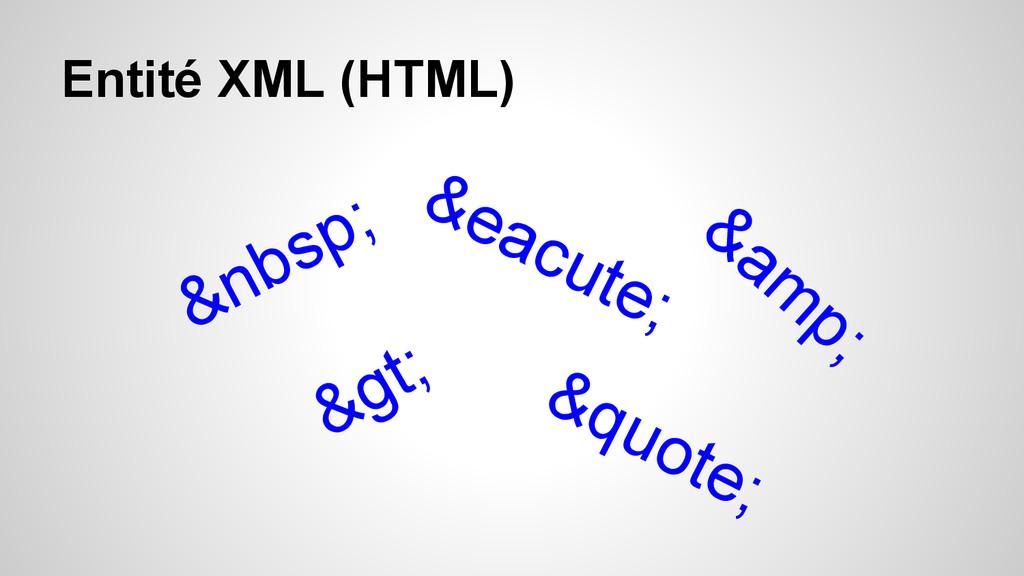 Entité XML (HTML)  é > &quote; ...