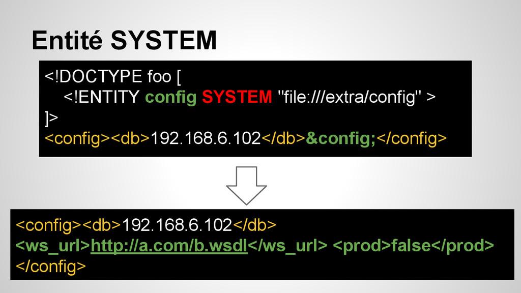 Entité SYSTEM <!DOCTYPE foo [ <!ENTITY config S...