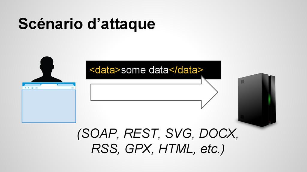 Scénario d'attaque <data>some data</data> (SOAP...