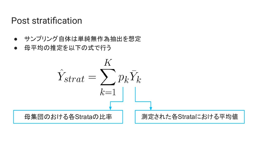 Post stratification ● サンプリング自体は単純無作為抽出を想定 ● 母平均の...