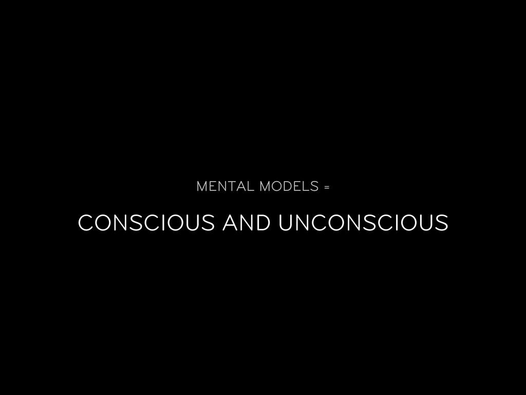 MENTAL MODELS = CONSCIOUS AND UNCONSCIOUS