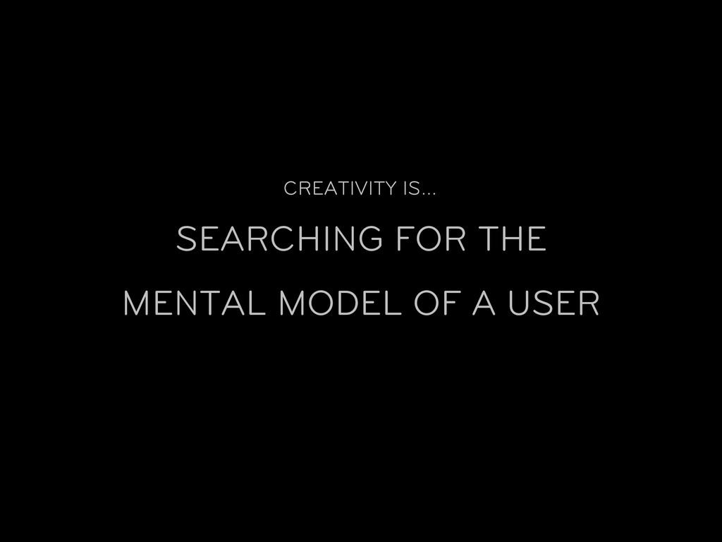 CREATIVITY IS… SEARCHING FOR THE MENTAL MODEL O...