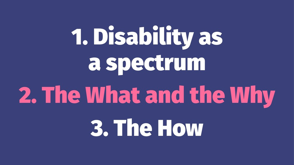 1. Disability as a spectrum 2. The What and the...