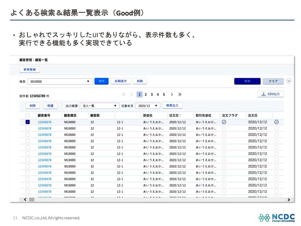 よくある検索&結果一覧表示(Good例) • おしゃれでスッキリしたUIでありながら、表示件数...