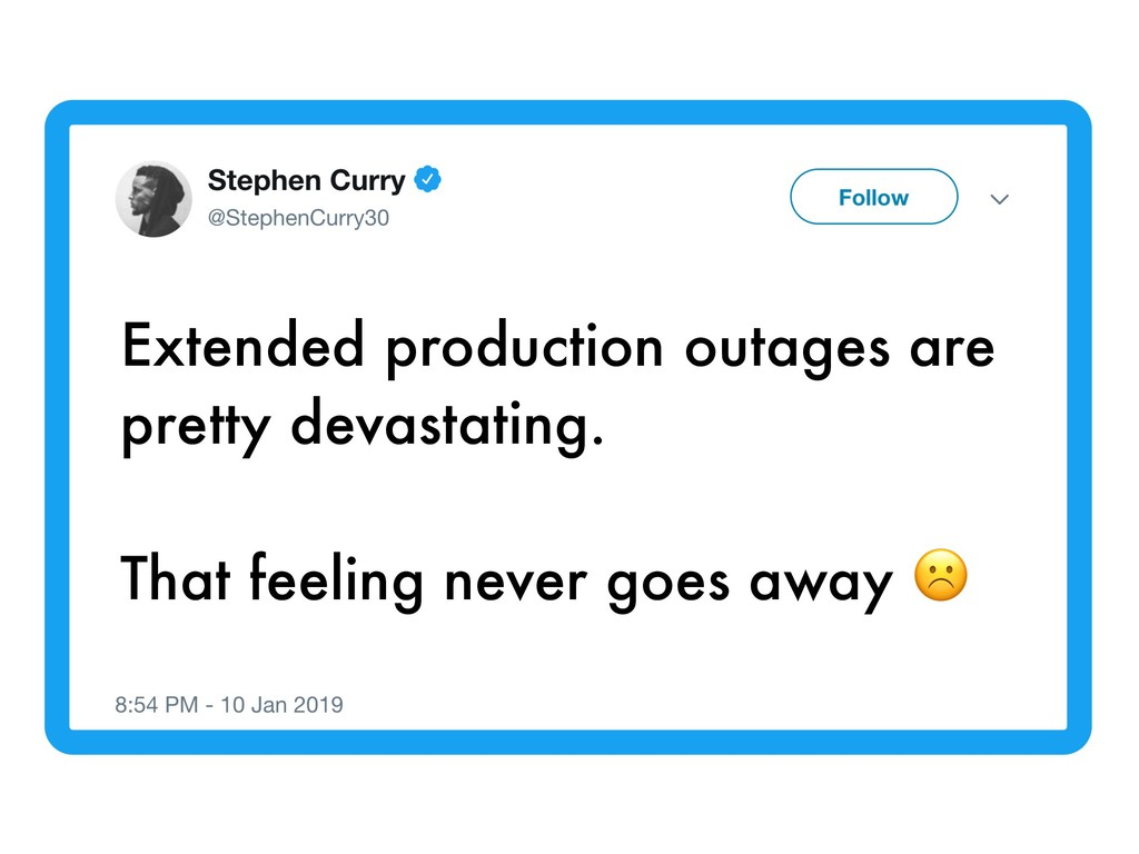 Extended production outages are pretty devastat...