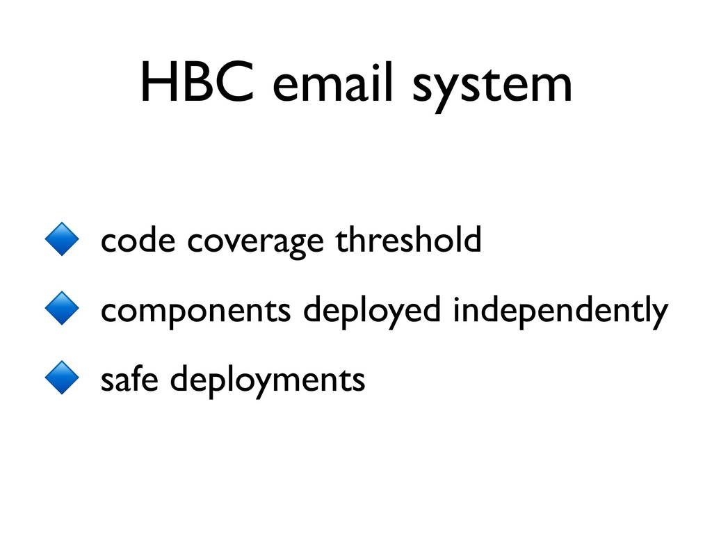 HBC email system code coverage threshold compon...