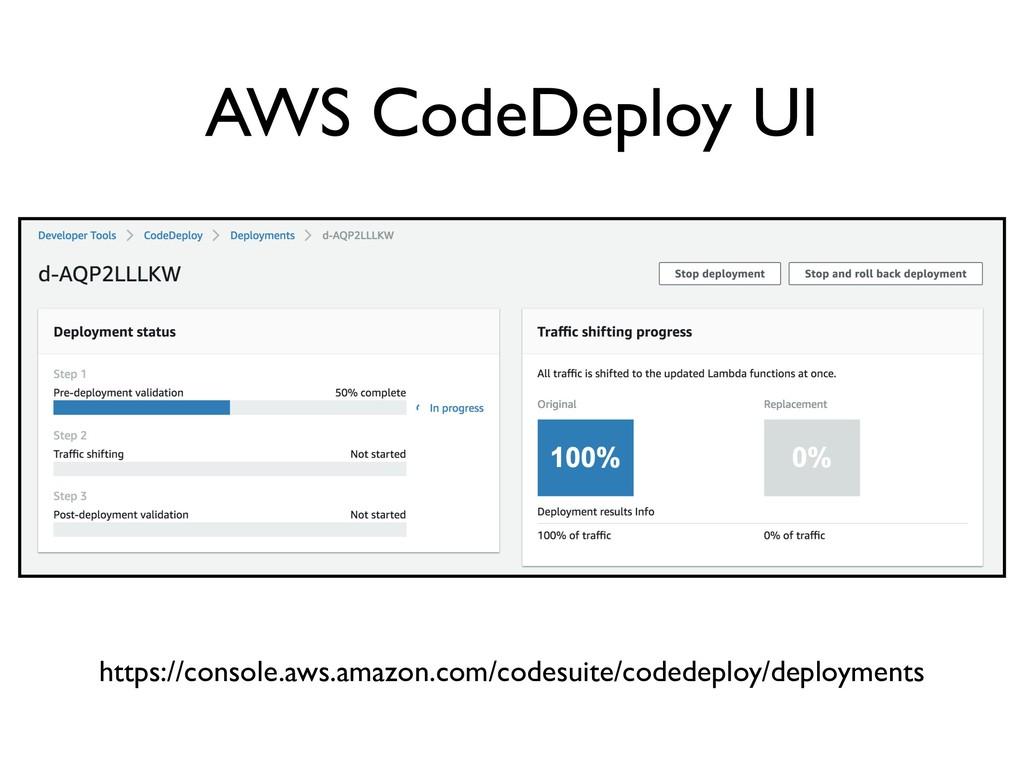 AWS CodeDeploy UI https://console.aws.amazon.co...