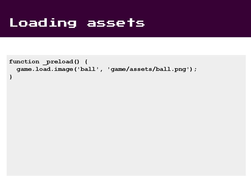 Loading assets function _preload() { game.load....