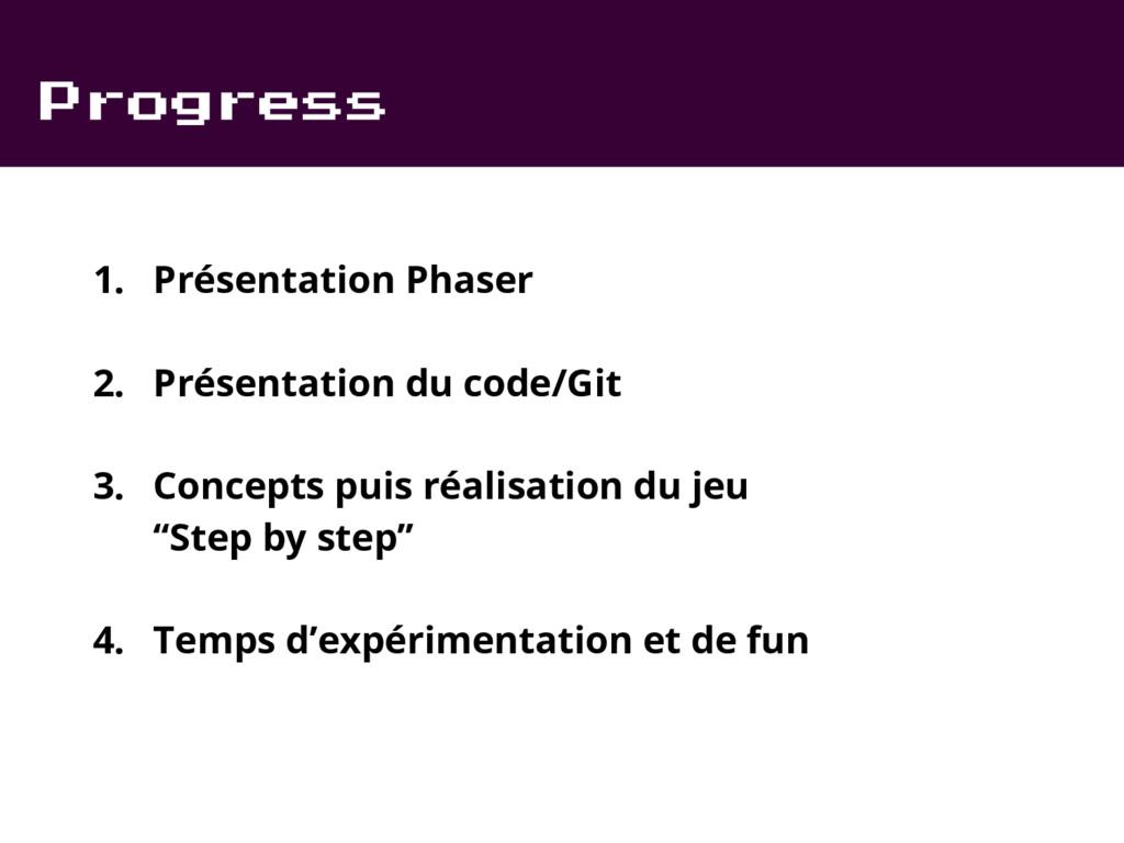 Progress 1. Présentation Phaser 2. Présentation...