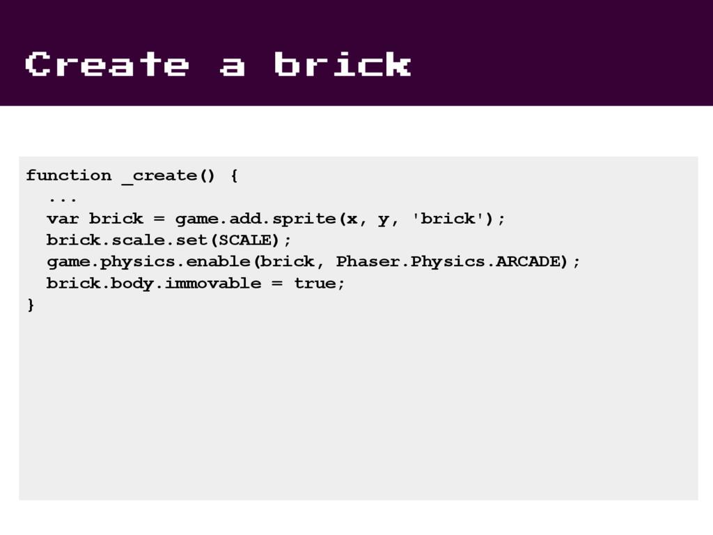 Create a brick function _create() { ... var bri...