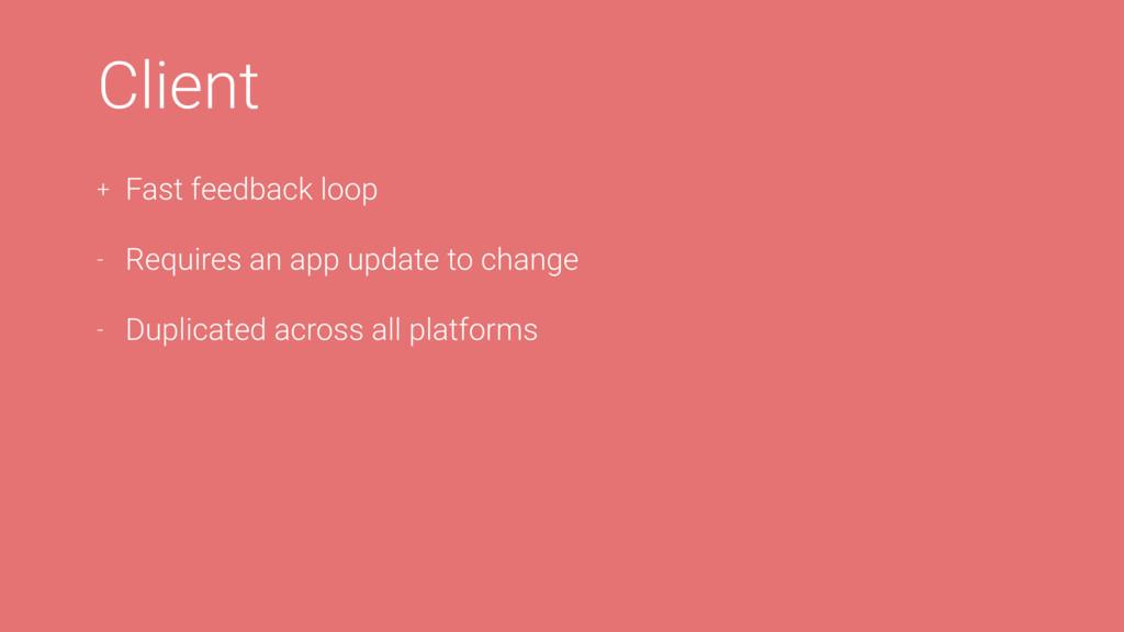 Client + Fast feedback loop - Requires an app u...