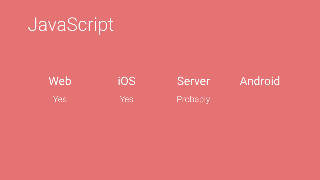 JavaScript Web iOS Server Android Yes Yes Proba...