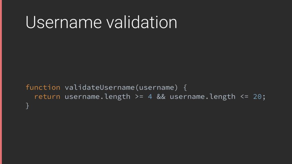 Username validation function validateUsername(u...
