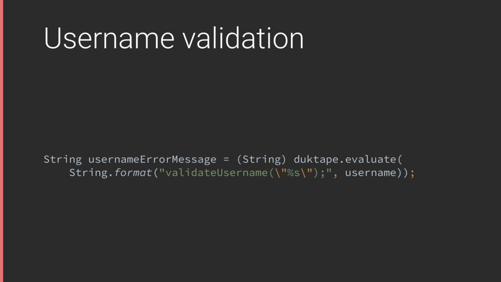 Username validation String usernameErrorMessage...