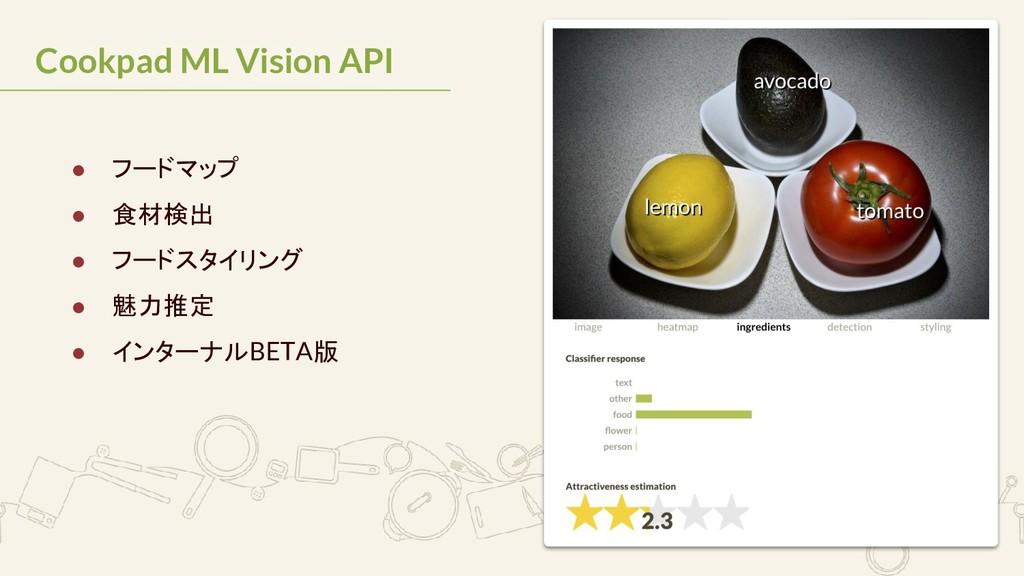 Cookpad ML Vision API ● フードマップ ● 食材検出 ● フードスタイリ...