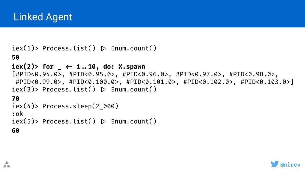 @nirev Linked Agent iex(1)> Process.list() |> E...