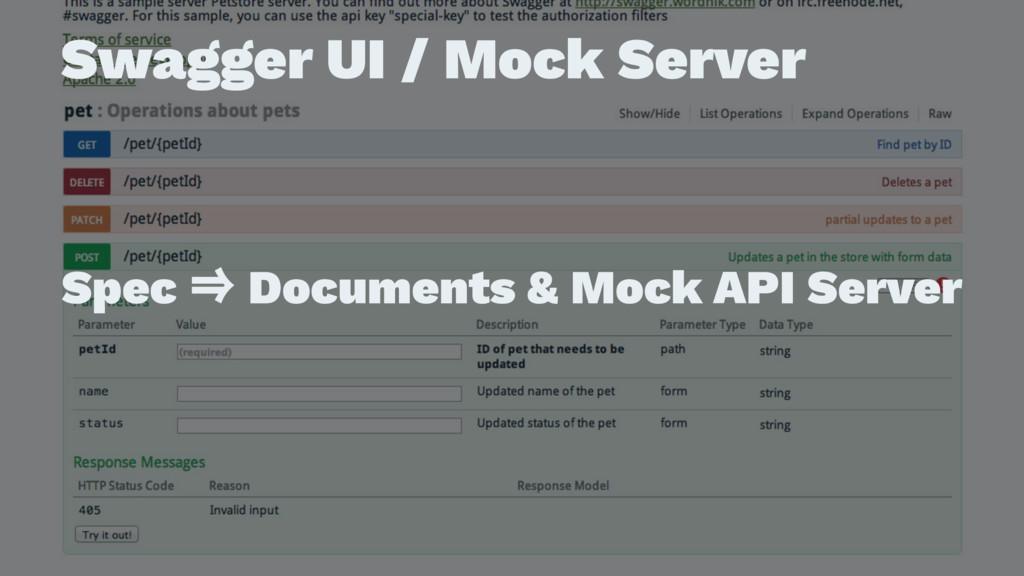 Swagger UI / Mock Server ɹ ɹ Spec ˰ Documents &...