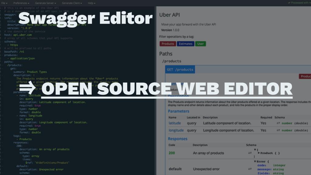 Swagger Editor ɹ ɹ ˰ OPEN SOURCE WEB EDITOR