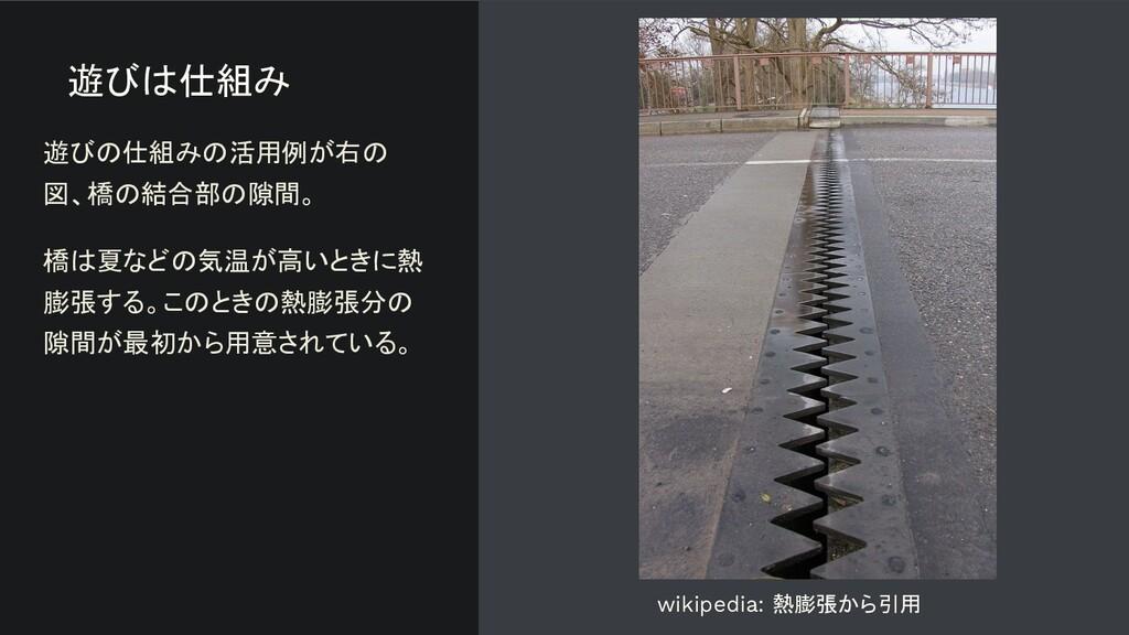 遊びは仕組み 遊びの仕組みの活用例が右の 図、橋の結合部の隙間。 橋は夏などの気温が高いときに...