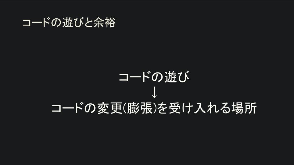 コードの遊び ↓ コードの変更(膨張)を受け入れる場所 コードの遊びと余裕