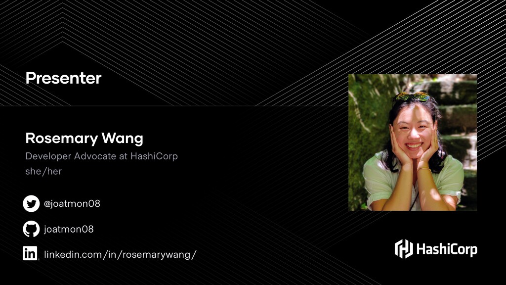 Presenter Rosemary Wang Developer Advocate at H...