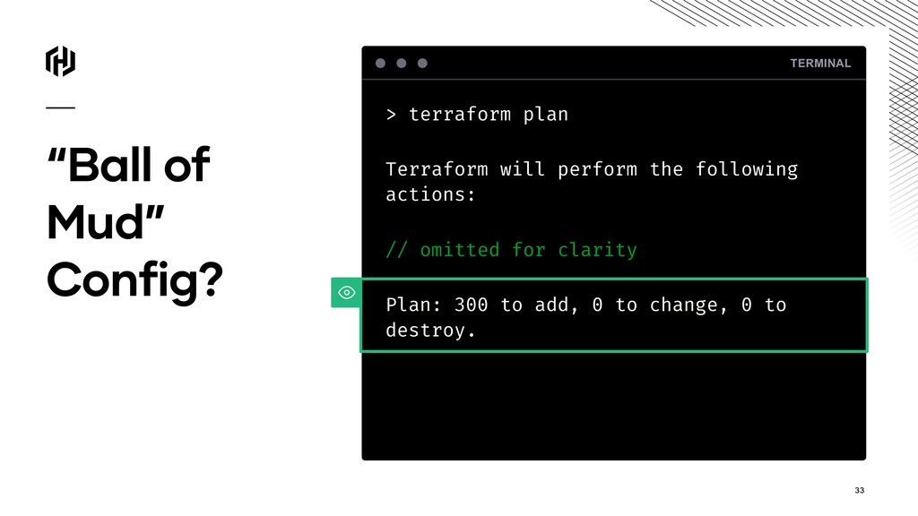 """Ball of Mud"" Config? TERMINAL > terraform plan..."