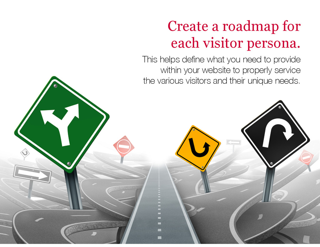 Create a roadmap for each visitor persona. This...