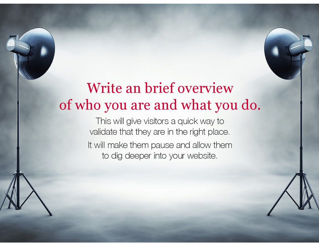 Write an brief overview of who you are and what...