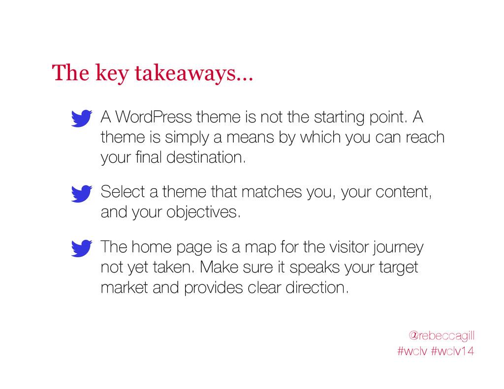 The key takeaways… A WordPress theme is not the...
