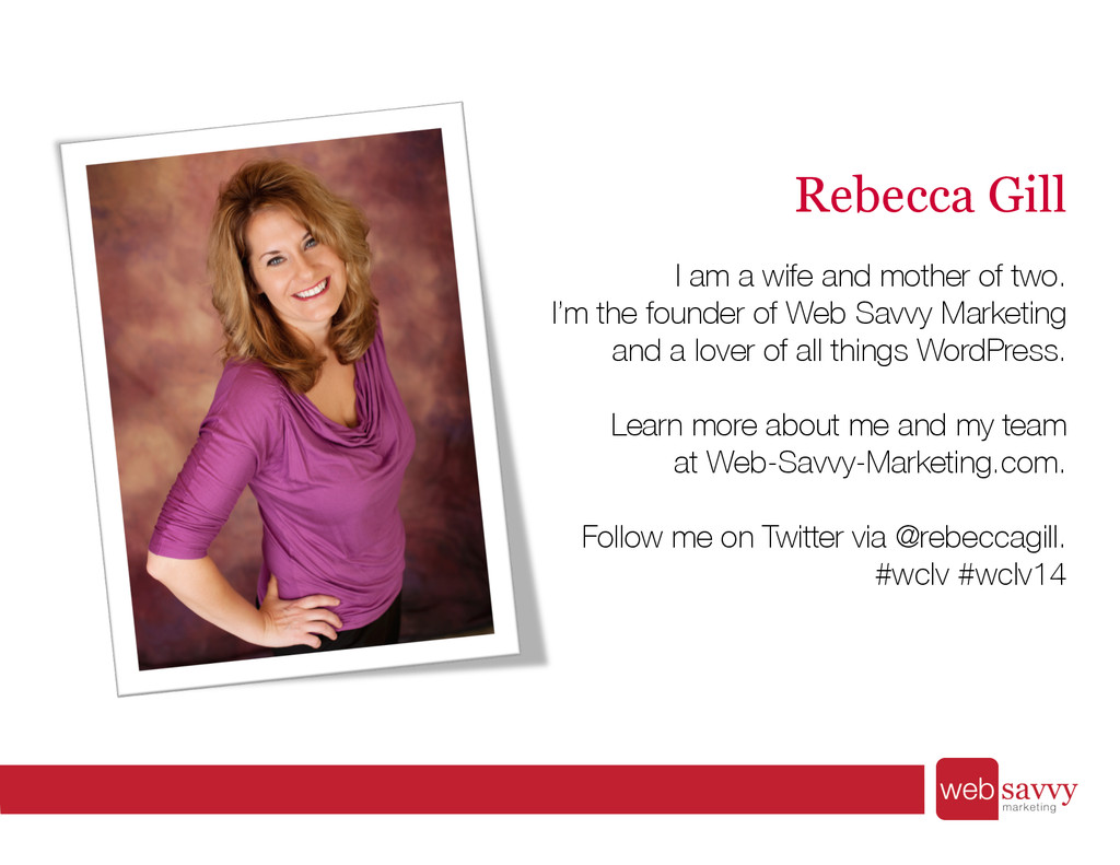 Rebecca Gill I am a wife and mother of two. I'...
