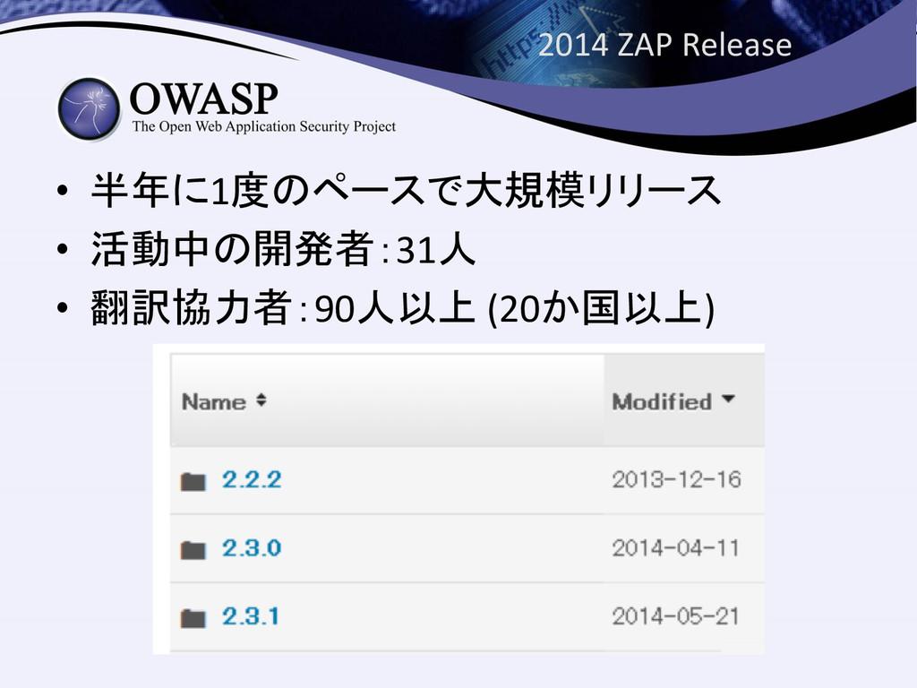 2014 ZAP Release • 半年に1度のペースで大規模リリース • 活動中の開発者:...